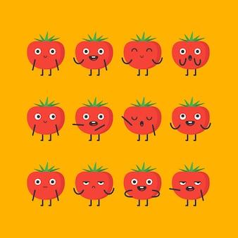 Tomatenzeichensatz verschiedene optionen und emotionen. vektor-illustration.