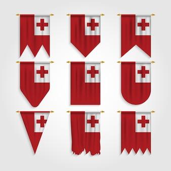 Tonga flagge in verschiedenen formen, flagge von tonga in verschiedenen formen