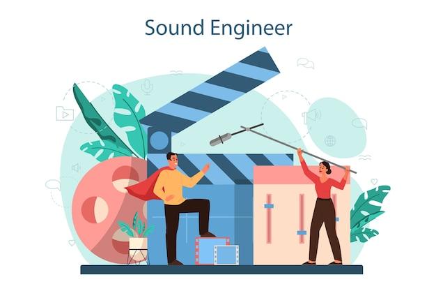 Toningenieur-konzept. musikproduktionsindustrie, ausrüstung für tonaufnahmestudios. ersteller eines filmsoundtracks.