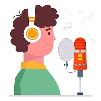 Tonstudio für sprachaufnahmen. mann mit kopfhörern, die mit kopfhörern stehen und ein flaches konzept singen. junge nimmt neues lied auf. karaoke-party. flache vektorillustration lokalisiert auf weißem hintergrund.