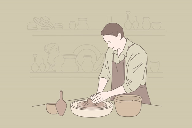 Tonwarenhandwerk, kunstfertigkeithobby, handgemachtes tonwarenkonzept