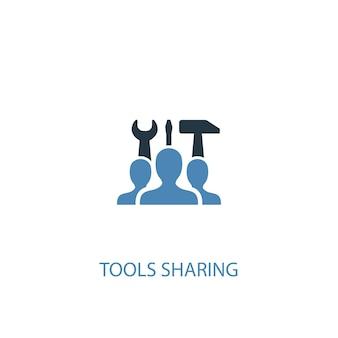 Tools, die konzept 2 farbiges symbol teilen. einfache blaue elementillustration. werkzeuge, die konzeptsymboldesign teilen. kann für web- und mobile ui/ux verwendet werden
