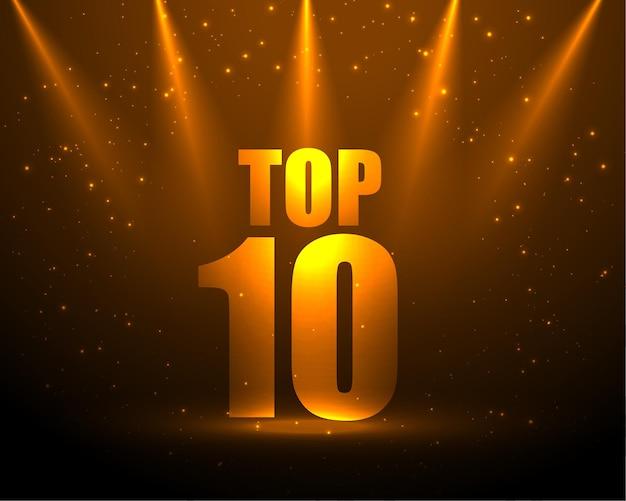 Top 10 auszeichnung mit spotlight-effekt