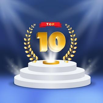Top 10 der besten podestplätze Premium Vektoren