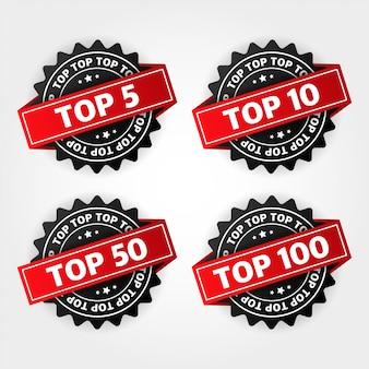Top 5, 10, 50, 100. liste der besten zehn auf weiß