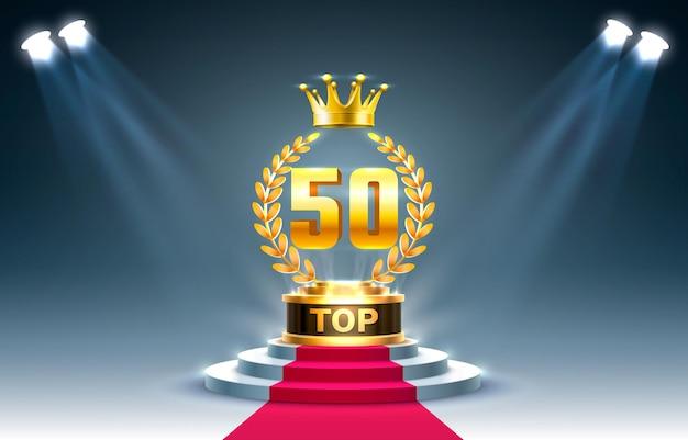 Top 50 besten podium award zeichen, goldenes objekt.