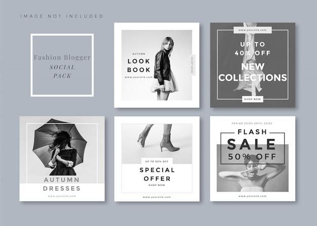 Top fashion minimalist saubere und einfache quadratische social-media-vorlage