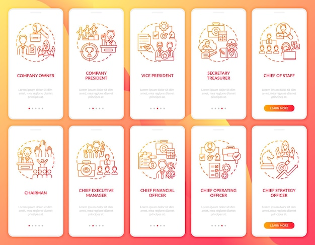 Top-management onboarding mobile app seite bildschirmkonzepte festgelegt. voller firmenpräsident. helfer der ceo-exemplarischen vorgehensweise 10 schritte grafische anleitung. ui-vorlage mit rgb-farbabbildungen
