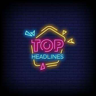 Top schlagzeilen neon signs style text