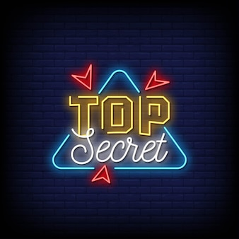 Top secret neon signs style text