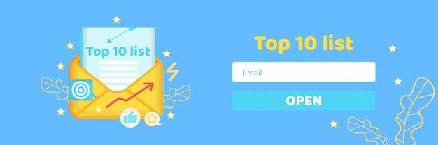 Top-ten-liste für gerichtetes e-mail-marketing