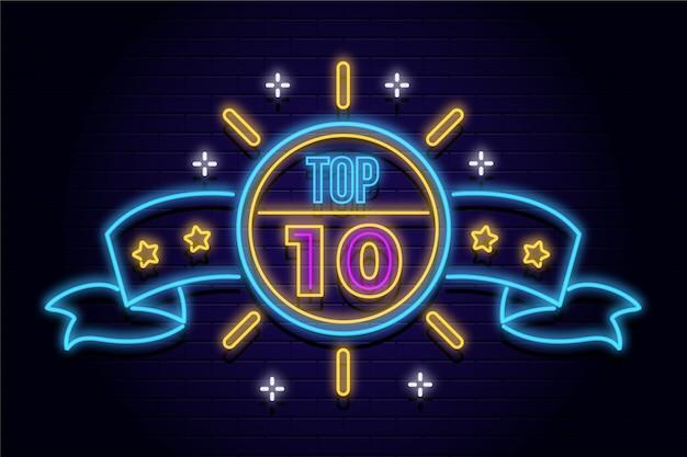 Top ten schild mit neonlichtern