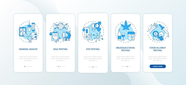 Top-testkategorien onboarding mobile app-seitenbildschirm mit konzepten