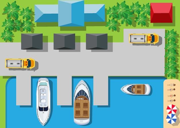 Top viewport yachthäfen mit brücken, straßen