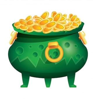 Topf mit goldmünzen isoliert. grüner kessel mit dellen.