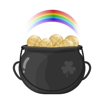 Topf mit goldmünzen und regenbogen