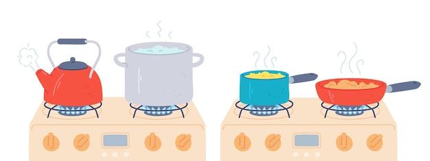 Topf und pfanne auf dem herd. zubereitung von speisen und kochendem wasser in topf und wasserkocher mit dampf auf küchengasherden. kochen auf feuervektorsatz. wasser kocht auf flamme, kocher mit flamme