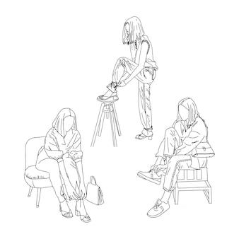 Topmodels mit schuhen sind geradlinig gezeichnet. vektor-illustration.