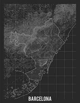 Topografische karte von barcelona