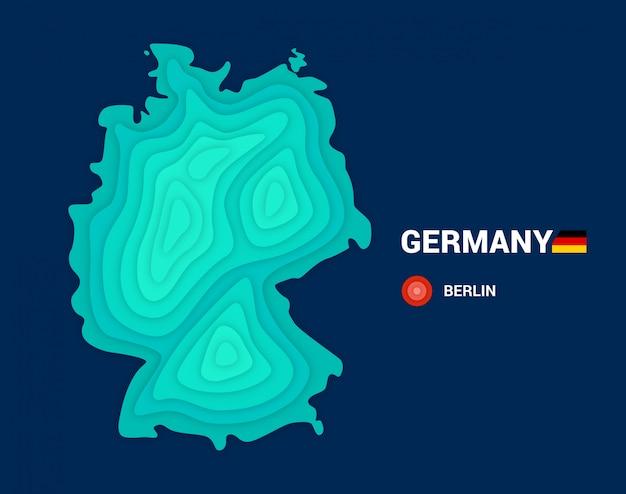 Topografische karte von deutschland. 3d-kartografiekonzept