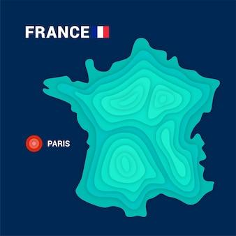 Topografische karte von frankreich kartografiekonzept