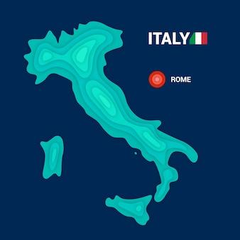Topografische karte von italien. kartographiekonzept