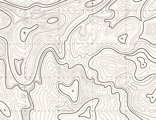 Topographische karte. hinterkartierungsgitter, kontur-geländerelief-linienbeschaffenheit