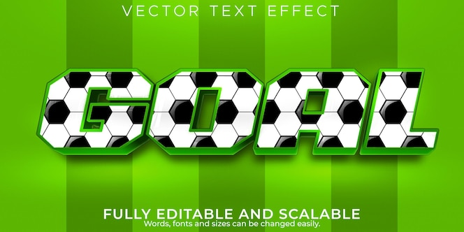 Torfußball-texteffekt, bearbeitbarer fußball- und stadiontextstil