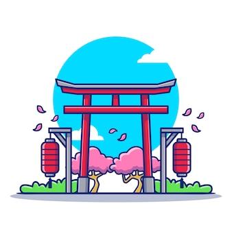 Torii gate cartoon icon illustration. famous building travelling icon concept isoliert. flacher cartoon-stil