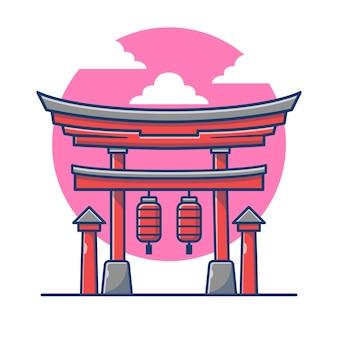 Torii gate cartoon illustration.