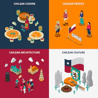 Toristic chili 4 isometric icons set