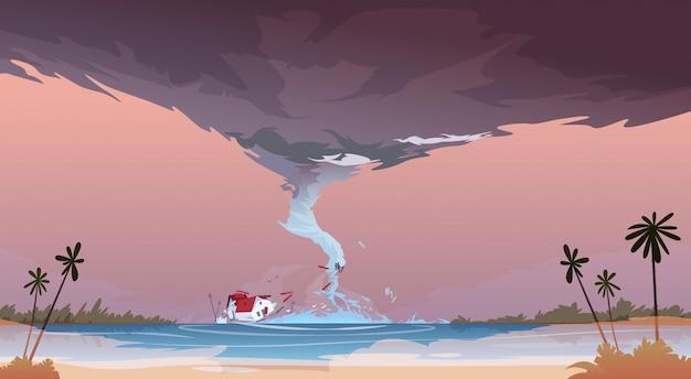 Tornado, der vom seehurrikan in der ozean-strand-landschaft des sturm waterspout twister-naturkatastrophen-konzeptes ankommt