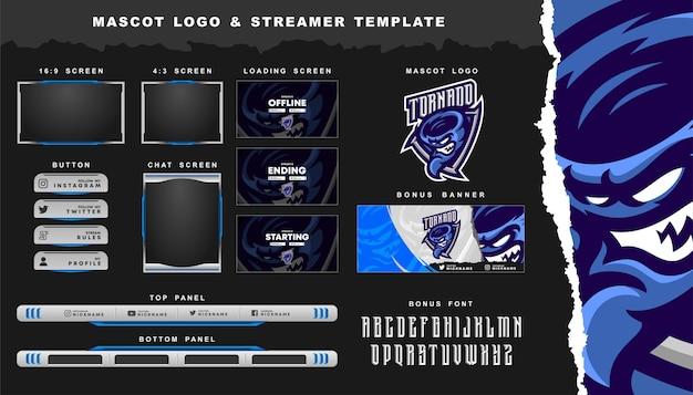 Tornado-maskottchen-logo und twitch-overlay-vorlage