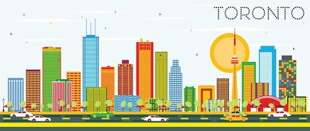 Toronto-skyline mit farbgebäuden und blauem himmel. vektor-illustration. geschäftsreise- und tourismuskonzept mit historischer architektur. bild für präsentationsbanner-plakat und website.