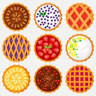 Torten draufsicht. backen, leckerer apfel, heidelbeere, pekannuss und leckerer kirschkuchen