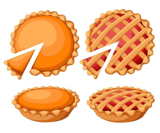 Torten illustration. dank und feiertags-kürbiskuchen. traditioneller kürbiskuchen des glücklichen erntedankfestes mit schlagsahne auf der obersten website-seite und im mobilen app-element.