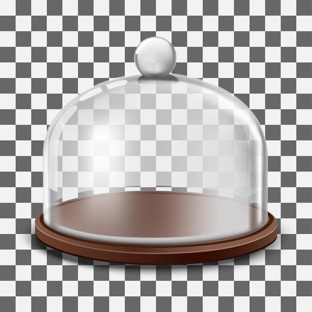 Tortenständer mit kugelförmiger glashaube isoliert