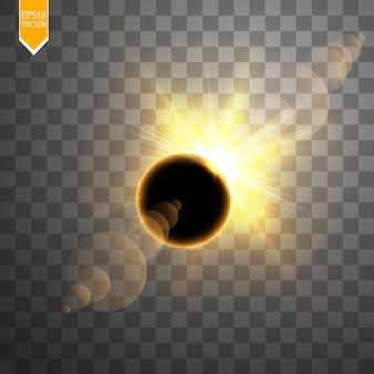 Totale sonnenfinsternis-vektorillustration auf transparentem hintergrund