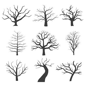Tote baumsilhouetten. sterbende schwarze unheimliche baumwaldillustration. natürlicher sterbender alter baum des satzes