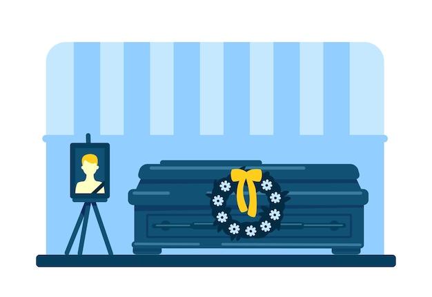 Tote junge mann sarg und foto flache farbe. begräbniszeremonie. ritualdienst. innenraum 2d-cartoon-innenraum mit verstorbenem männlichem bild und blumenkranz auf hintergrund