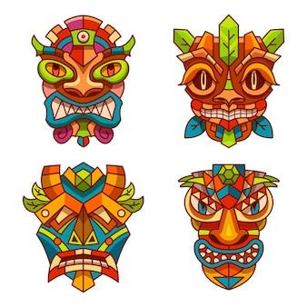 Totemmasken mit stammesdekorationsverzierung von tiki-indianern, hawaii oder azteken und maya