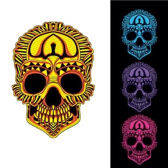 Totenkopf aus dekorativem muster mit im dunkeln leuchtendem farbsatz