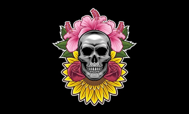 Totenkopf-blumen-maskottchen-logo-design
