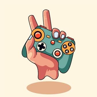 Totenkopf gaming mit joy stick emblem im modernen stil