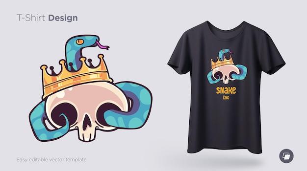Totenkopf in einer krone mit schlangen-t-shirt-design print für kleidung, poster oder souvenirs vector