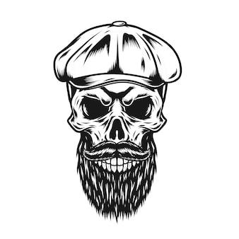 Totenkopf mit flacher mütze und bart
