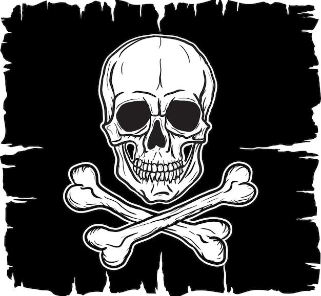 Totenkopf mit gekreuzter knochen über schwarzer flagge