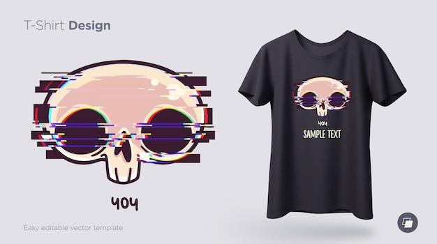 Totenkopf mit glitch-effekt-t-shirt-design print für kleidungsposter oder souvenirs vector