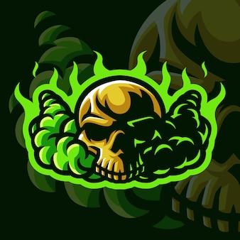 Totenkopf mit grünem flammen-maskottchen-logo für gaming twitch streamer gaming esports youtube facebook