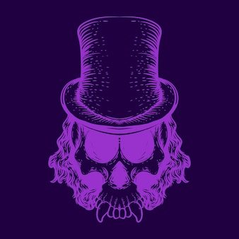 Totenkopf mit hut neonfarbene illustration